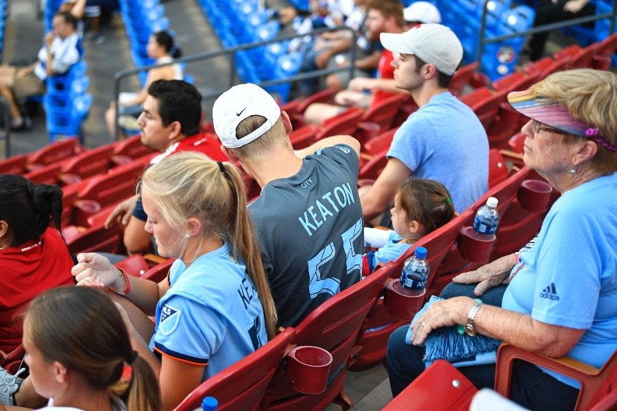Keaton Parks' family, including sister Kaci Parks, watch from the stands at Toyota Stadium for the match between NYC FC and FC Dallas on Sunday, Sept. 22, 2019.