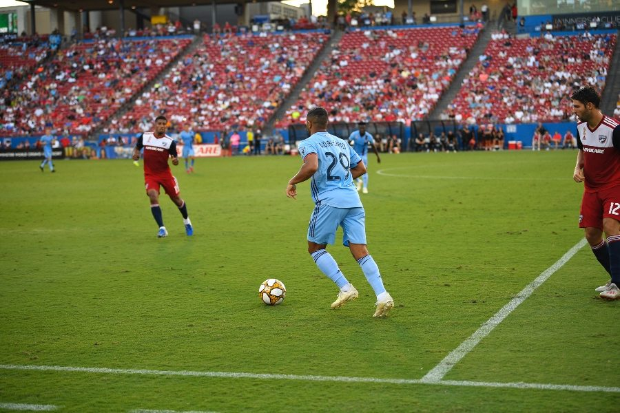 NYC FC forward Ismael Tajouri-Shradi (#29) looks to make a play as he approaches the soccer ball during a match against FC Dallas at Toyota Stadium on Sunday, Sept. 22, 2019.
