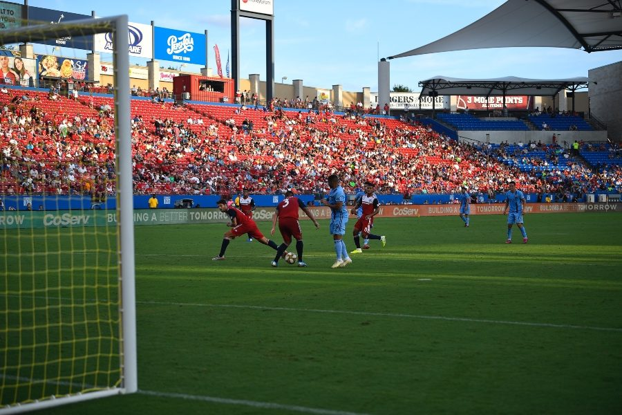 FC Dallas and NYC FC players surround the ball in an attempt to break the 1-1 tie at Toyota Stadium on Sunday, Sept. 22, 2019.