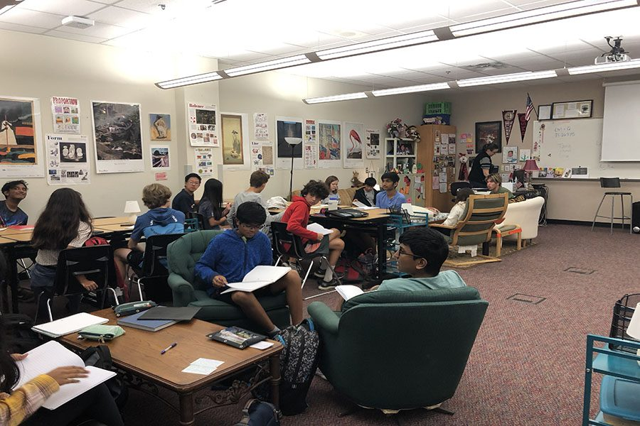 Humanities students are pictured working on a project back in September to expand their knowledge on topics of ancient civilizations.
