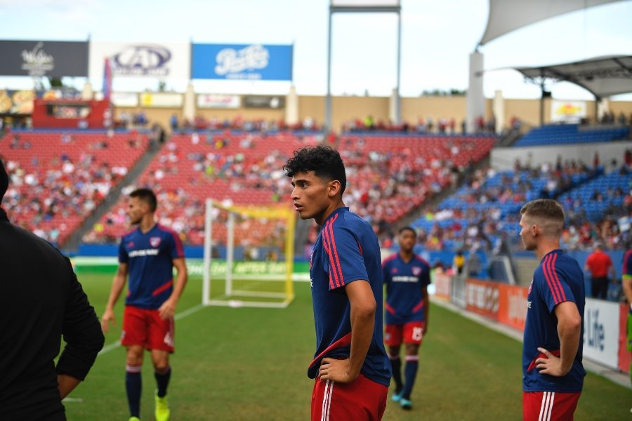 FC Dallas Ricardo Pepi watches the match against NYC FC from the sidelines at Toyota Stadium.