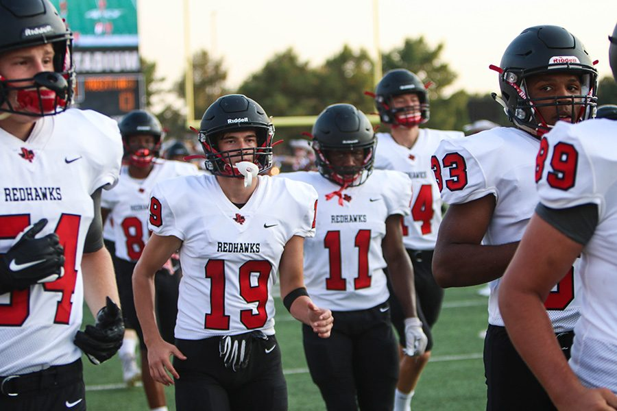 Football took on Carrolton Creekview on Thursday in Carrolton. Despite the final 14-42 loss, the Redhawks had tied up the game 14-14 with 10 minutes left in the 3rd quarter.