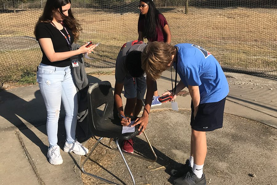 Freshmen Shannon Hogan, Ashwin Javvaji, Kyathi Uyyala, and Luke Martin jott down the coordinates of locations they found by their GPS. The students tried to find all the locations, to see who had the most by the end of class.