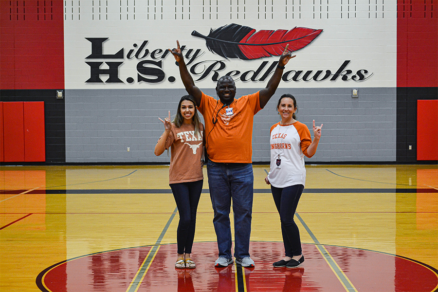 UT Austin Alumni English teacher Hope Rojas, assistant principal John Brown, and principal Ashley Rainwater show their Longhorn love in The Nest. As the early application deadline for both schools approaches Nov. 1, faculty give students their insight.