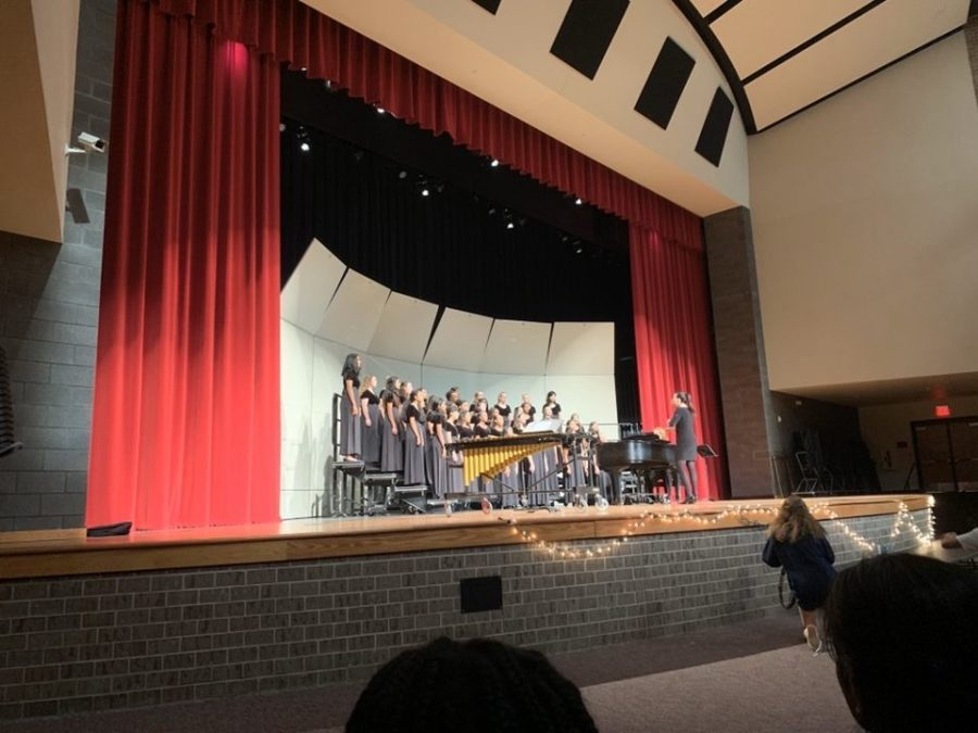 In the choirs first concert of the year, the students all sing together in the auditorium, to showcase their skills. Both of the different choirs got to perform, and show family and friends what they have worked on this year so far.
