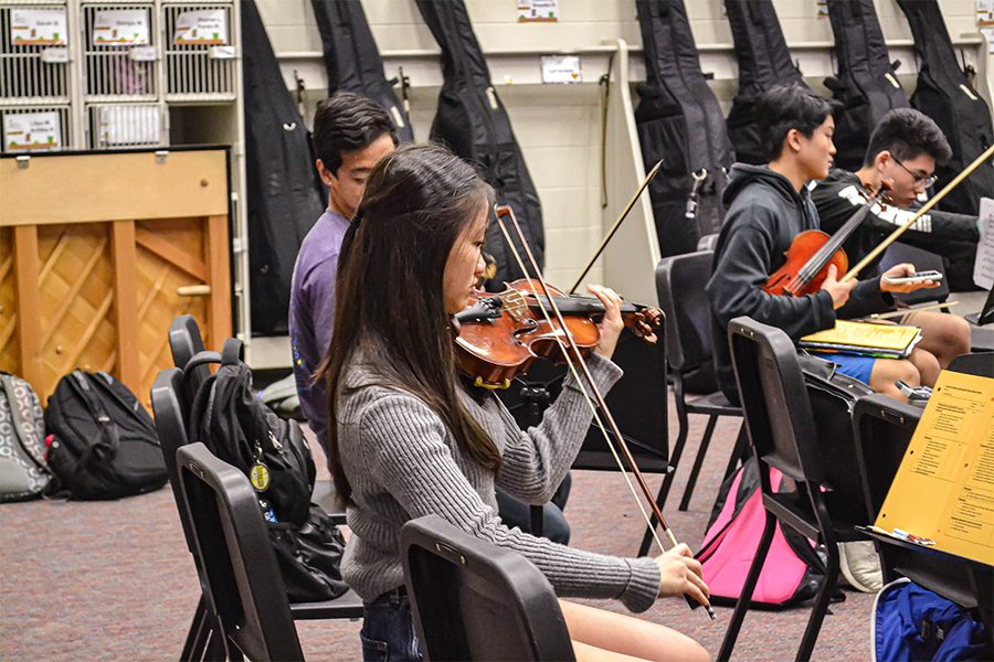 All-Region+violinist+sophomore+Sophie+Lin+practices+during+class.+Lin+is+among+38+other+Redhawks+that+competed+with+over+900+students+for+spots+in+the+All-Region+orchestra.+