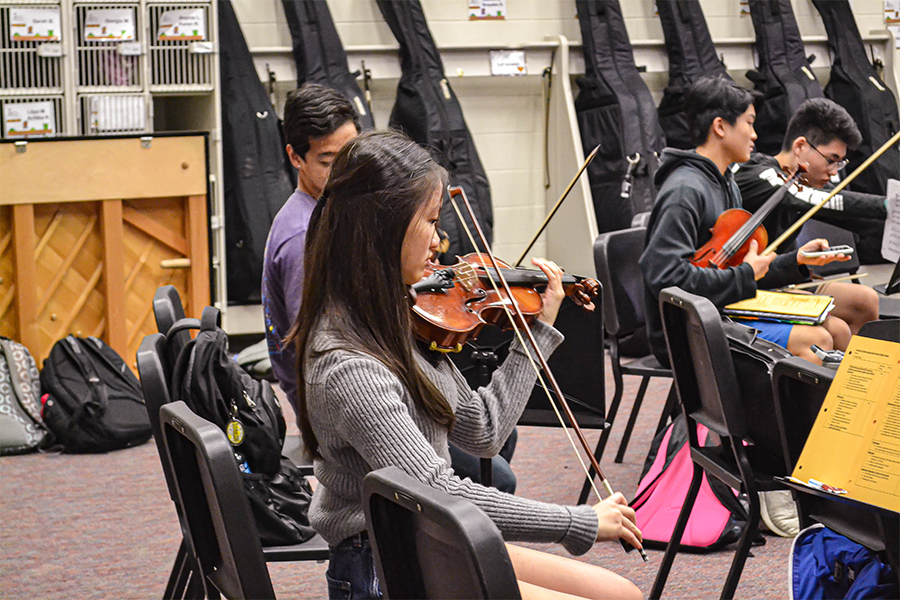All-Region violinist sophomore Sophie Lin practices during class. Lin is among 38 other Redhawks that competed with over 900 students for spots in the All-Region orchestra.