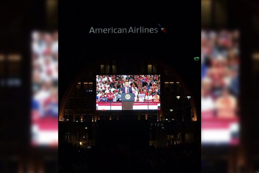 Speaking+at+American+Airlines+Center+in+downtown+Dallas%2C+President+Donald+Trump+filled+the+AAC+to+capacity%2C+leaving+some+supporters+to+watch+Trump+on+a+video+board+outside.+