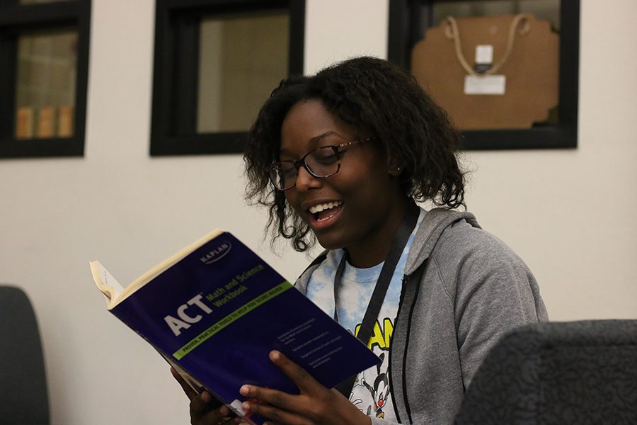 With SAT and ACT on the horizon for many students, senior Mykah Robins studies with an ACT prep book. The Frisco ISD presentation on SAT and ACT will cover some tips and guidelines for the test, with the help of Princeton Review.