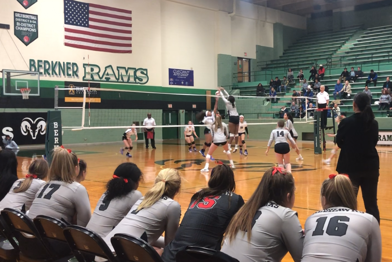 In their second round of playoffs against RL Turner, sophomore Paeton Davis blocks the ball from even crossing the net. The team came out with a win, and will advance to the next round of district.