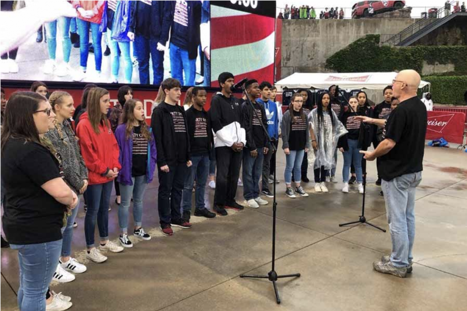 In 2018, the choir made their first appearance at a professional sporting event, singing the national anthem at FC Dallas. This year, the choir will be heading to the Comercia Center to sing the anthem before a Texas Legends basketball game.