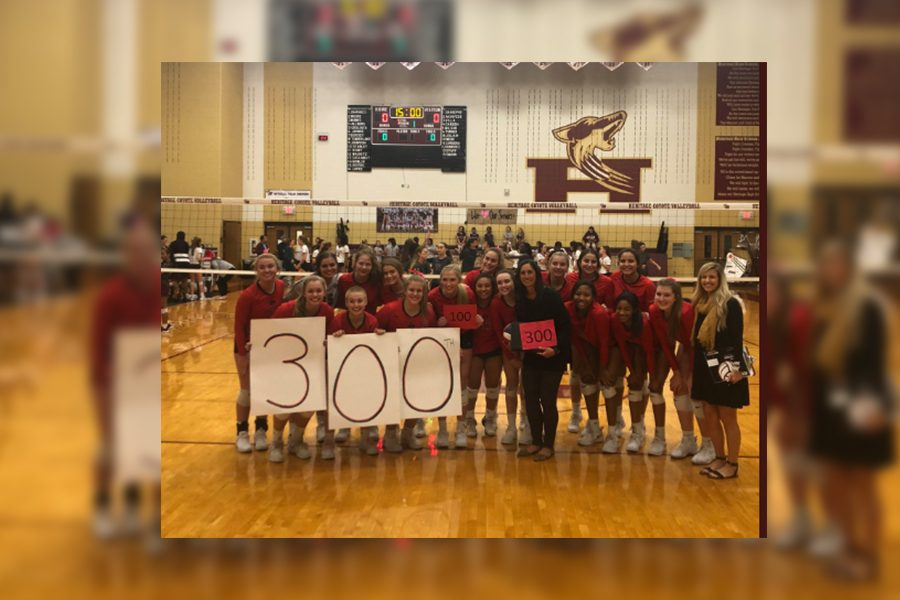 While Heritage celebrated senior night, the volleyball team recognized head coach Ui Womble for her 300th varsity win with the Redhawk program. With Ransom and Wenaas hitting 100, and Womble reaching her 300th victory with the Redhawks, the team has had a lot to celebrate this season.