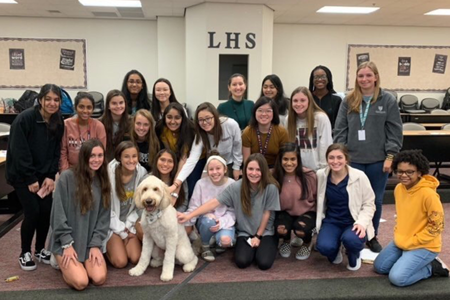 Stabler D'Amore was the focus of attention in the lecture hall Wednesday as part of the school's counseling session that presented information on how pets can help reduce anxiety.   A 2016 survey found that 74 percent of people who owned a pet reported an improvement in their mental health.