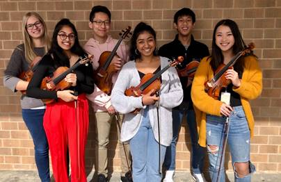 Orchestra is sending six members to the All-State orchestra, up from five members last school year. Back row (left to right): first-time member, sophomore Julia Johnson (violin), second-time member, sophomore Jacob Choi (viola), and three-time member, senior Jonathan Peng (violin). Front row (left to right): second-time member, junior Nandika Chirala (violin), second-time member, senior Geethika Bonthala (violin), first-time member, freshman Jayna Yoon (violin).