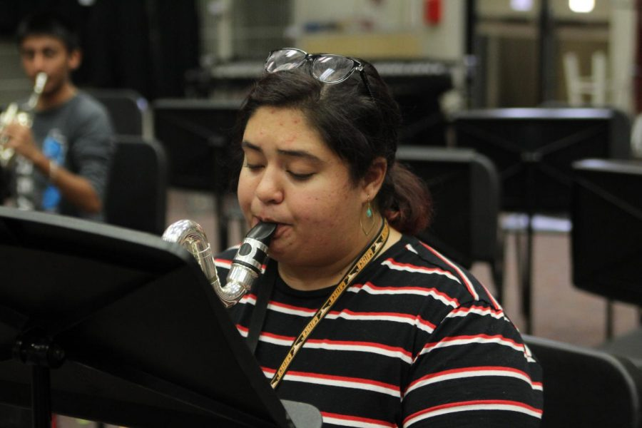 Senior, bass clarinetist Emily Graves, practices  her All Region audition music during class. 9 students advanced to 5A Area on Monday night.