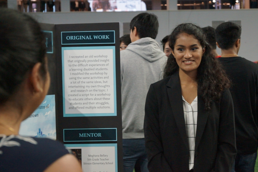 Smiling, junior Urja Joshi studied education for ISM. She is presenting her research to parents on Jan. 15 2020.