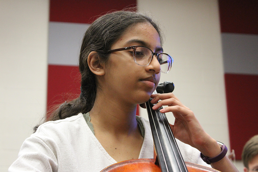 Aarya Patel, freshman, plays cello in her 4A Orchestra class. She is apart of the Philharmonic Orchestra, directed by Victoria Lien.