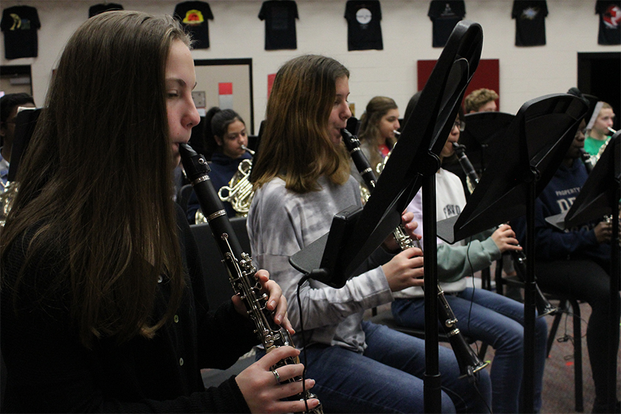 Freshman Daria Pridgen plays clarinet at rehearsal for bands mid-winter concert earlier this year in January. Due to the campus being closed, band students will head online to submit their annual auditions rather than performing in person.