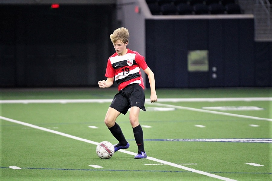 Running with the ball, _____ played against Reedy High School on Jan 17. 2020 at the Ford Center.