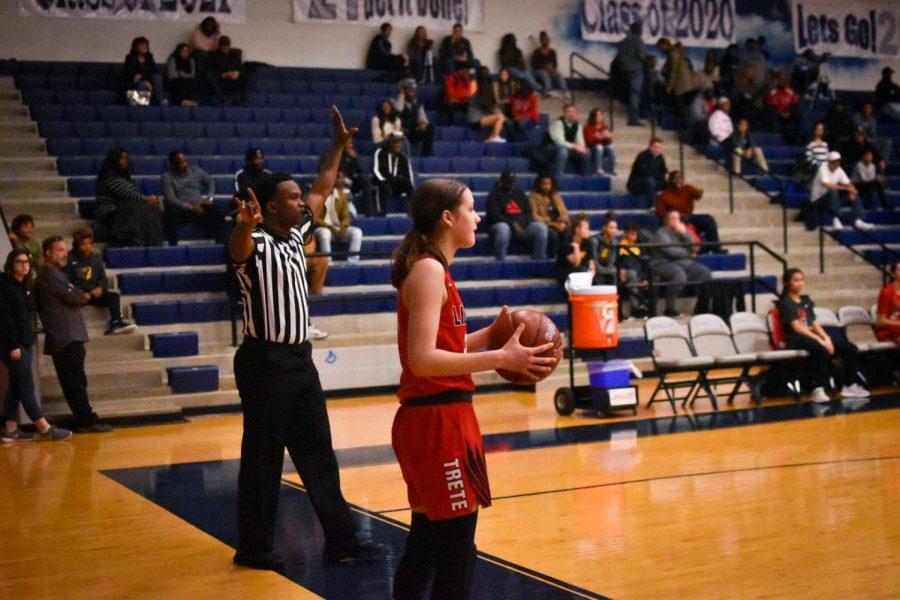 Guard, sophomore Ashley Anderson waits for the referee's call to pass in the ball at Satruday's game. The girls' team plays the Trailblazers at Lebanon Trail at 6 p.m. with the boys' team following at 7:15 p.m.