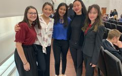 Smiling for the camera,  junior Shira Silberman poses with other mock trial students from across the district, including Lauren McCoy, Nikitha Bolla, Evelyn Chew, and Kara Burns. Mock trial has given Silberman the exposure to almost real court cases, in hopes of it setting her up for the future.