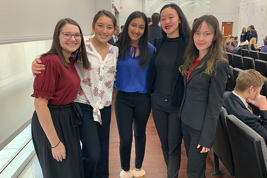 Smiling+for+the+camera%2C+%0Ajunior+Shira+Silberman+poses+with+other+mock+trial+students+from+across+the+district%2C+including+Lauren+McCoy%2C+Nikitha+Bolla%2C+Evelyn+Chew%2C+and+Kara+Burns.+Mock+trial+has+given+Silberman+the+exposure+to+almost+real+court+cases%2C+in+hopes+of+it+setting+her+up+for+the+future.+