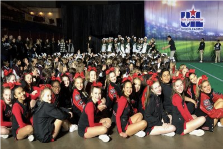 The+2019+cheer+team+poses+for+a+picture+in+the+competition+hall%2C+and+came+in+18th+in+the+overall+competition.+Heading+to+their+second+year+of+the+UIL+Spirit+State+Championships%2C+the+team+barely+missed+the+cut+to+compete+in+finals%2C+and+is+now+focusing+on+basketball+and+spring+cheer.+
