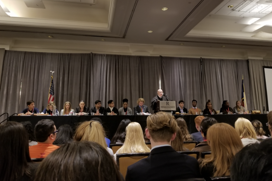 Swearing in delegates at the 2020 Texas Youth and Government State Conference, Judge Michael Keasler of the Texas Court of Criminal Appeals speaks at the opening ceremony.