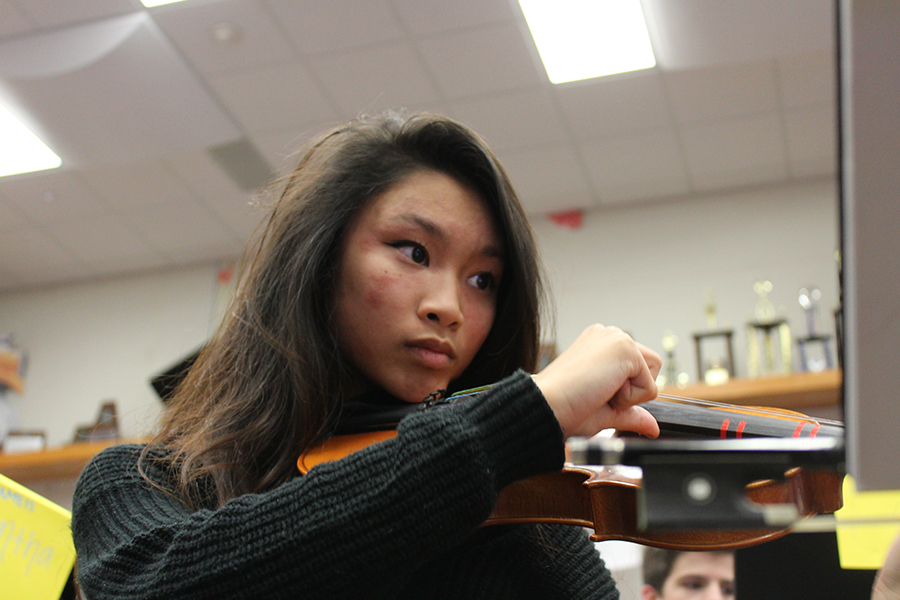 Sophomore, Lil Nguyen plays violin in the Philharmonic Orchestra directed by Victoria Lien.