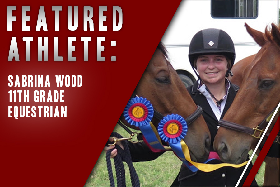 Junior+Sabrina+Wood+poses+with+her+horses+and+awards+following+a+riding+competition.+As+horseback+riding+is+not+offered+in+the+district%2C+Wood+balances+her+sport+on+top+of+advanced+classes.