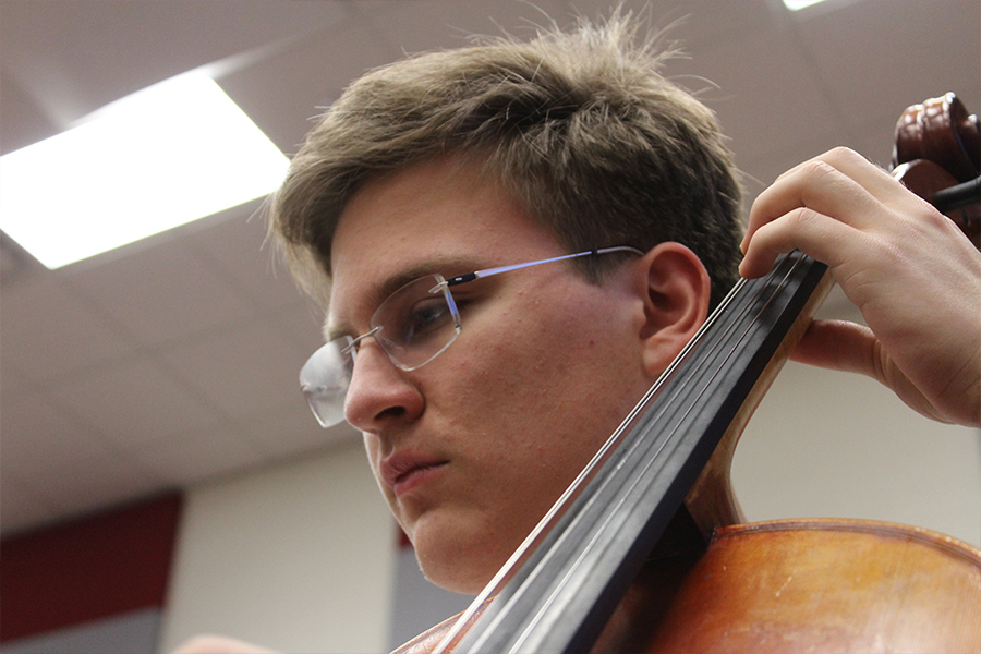 Sophomore, Simon Nagles plays the cello in Philharmonic Orchestra.