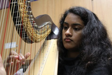 Playing the harp during class, junior Urja Joshi is in her third year of orchestra on campus.