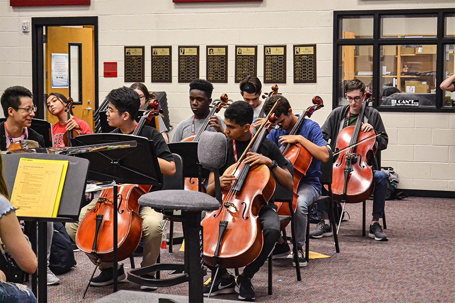 Rehearsing for their UIL contest during class, Camerata is the top orchestra on campus. All five Redhawk orchestras will be competing in the UIL Concert and Sight-reading contest this week.