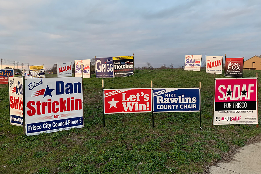 "At the corner of Rolater Road and Independence Parkway, dozens of campaign signs are set up to advertise candidates for local elections in Frisco and Collin County. ""Sadly in city elections, we're lucky to have 10 percent of our registered voters actually show up to vote, so very few actually do, and local elections like the city actually impacts people's day to day lives even more than national and state elections,"" Frisco mayor Jeff Cheney said."