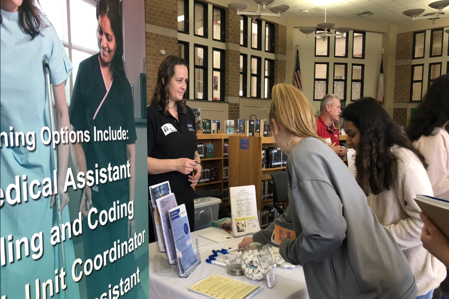 Giving+students+an+opportunity+to+learn+about+their+options+after+high+school%2C+the+career+fair+has+a+variety+of+representatives+from+colleges+and+jobs+available+for+consideration.+Students+are+welcome+in+the+library+during+advisory%2C+or+with+their+second+or+third+period+teacher.+