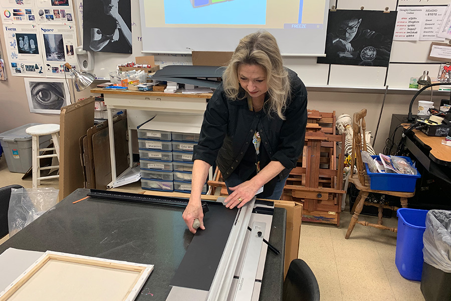 No access to paint, pencils, or pastels on campus, student artists are left with the supplies they have at home for the first three weeks of school during virtual instruction.   But sometimes, restraints make for the best art, according to art teacher Fred Rodriguez.