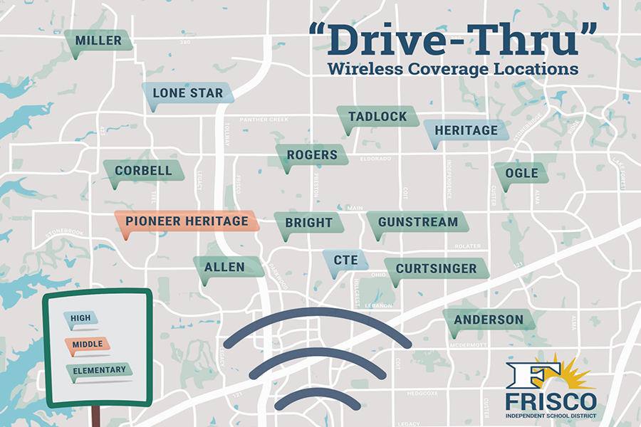 Drive through wifi is now available throughout the district. This way, students that are struggling to complete assignments online can have access to better internet.