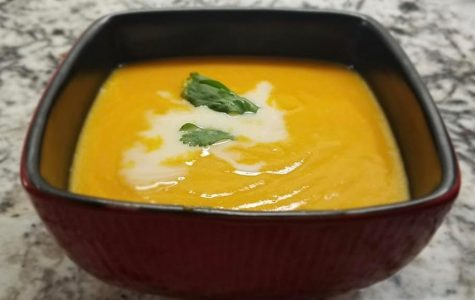 Carrot soup with coconut cream