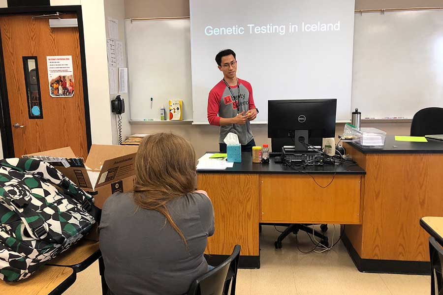 In his element, biology teacher Chris Ham gives a lesson on genetic testing in Iceland last year. Ham is among the final five up for Frisco ISDs Secondary Teacher of the Year for the 2019-2020 school year.
