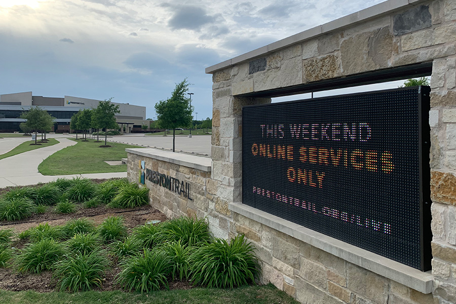 Non-denominational church Preston Trail continues to host online only services amidst COVID-19 outbreak. Religious institutions and churches are unable to congregate as part of social distancing restrictions.