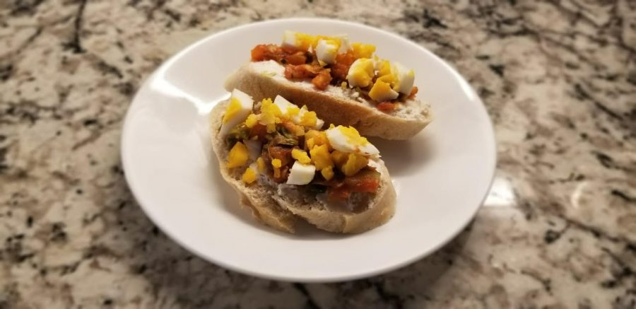 Girishs mom was inspired by Julie from the movie Julie and Julias tomato bruschetta to create egg bruschetta. For Girish, this meal is simple, yet satisfying, packed with protein, and can be prepared in no time.