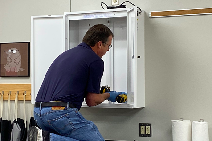 After removing 10 UV LED light eyewear sterilizers from schools across FISD, these cabinets were moved to Frisco Fire Stations, to help clean first responders eyewear. Using this with other safety measures, first responders are using extra precautions like this  to limit the spread of disease as much as possible.