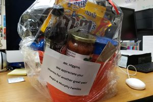 Teachers throughout Frisco ISD are being adopted as part of the Adopt-A-Teacher program started by parent Kimberly Armstrong. For journalism teacher Brian Higgins, it meant a basket filled with various treats and gift cards.