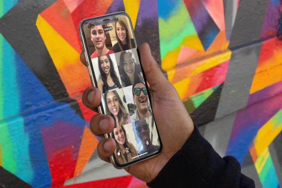 The popular FaceTime app Houseparty works on iPhone and Android. Each call can have up to 10 people, and its update introduced some additional interactive experiences such as new backgrounds and games to play while on the call.