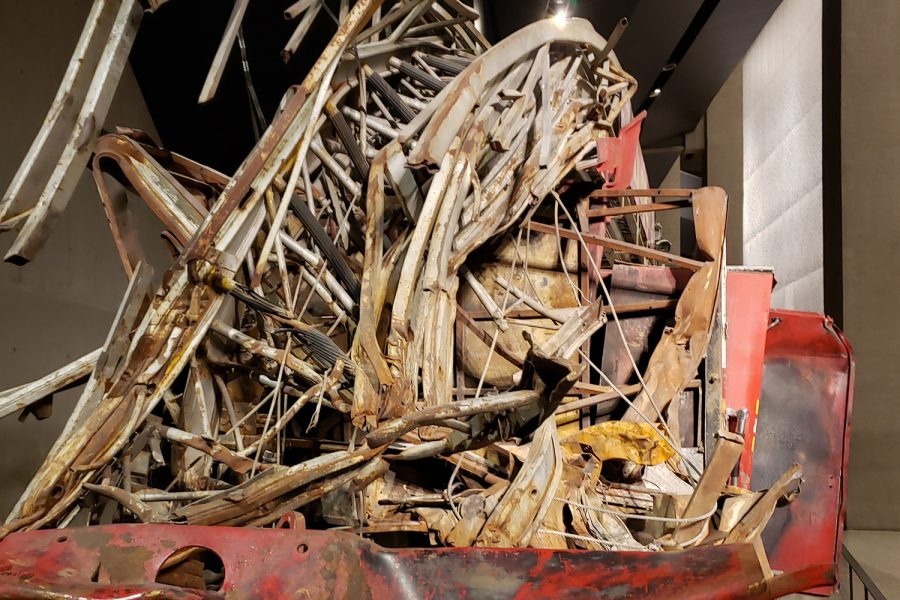 The aerial ladder was partially crushed on the FDNY Ladder Truck 3 on September 11, 2001 when debris from the Twin Towers fell on the vehicle. The truck is on display at the 9/11 Memorial & Museum as it was found on Sept. 11, 2001.