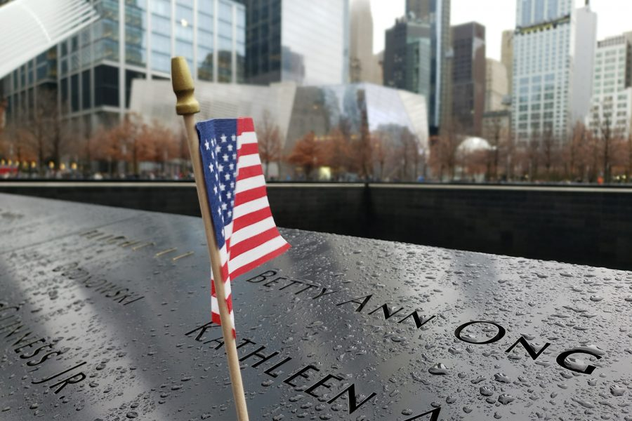 Flags and flowers are often sprinkled throughout the names on both the North and South Pools in memory of those who lost their life on Sept. 11, 2001. The names of all the victims of both 2001 and 1993 are inscribed here and are grouped by the locations and circumstances in which victims found themselves during the attacks.
