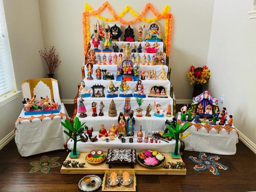 """""""The way we celebrate Navratri is that we set up a staircase of different levels filled with different bommais (small statues or dolls) of different deities, figurines, and anything that represents culture, beauty, and has a specific meaning to us, junior Shreya Jagan said."""