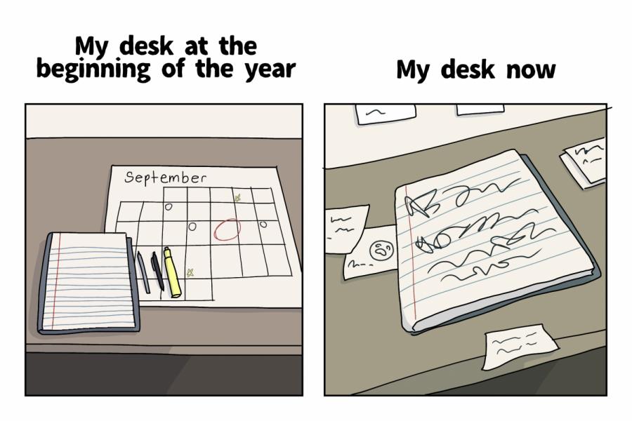 Mess of a desk after months of stress