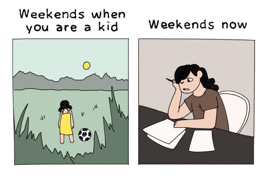 Weekends as a kid vs. as a teen