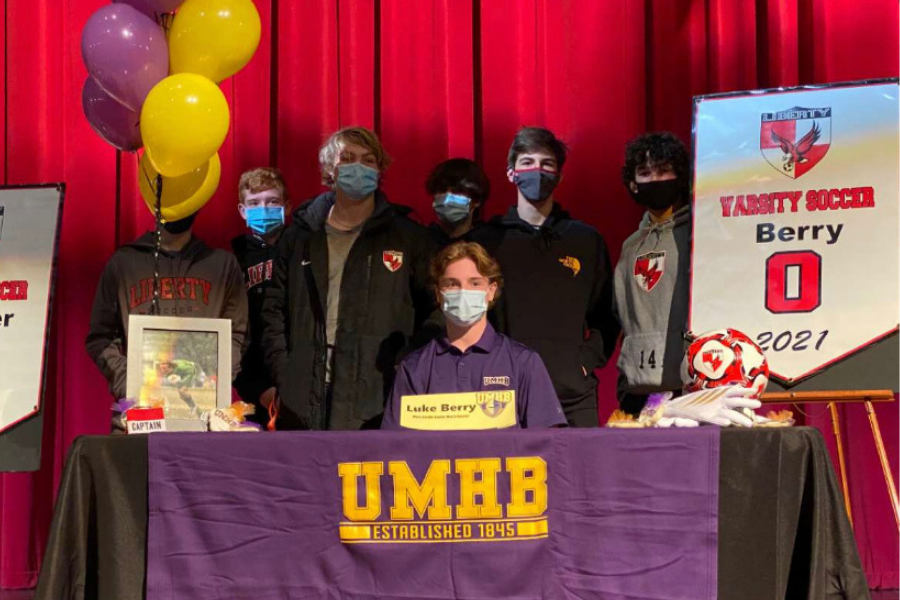 Posing with his teammates, Luke Berry signed to continue his athletic career playing soccer at the University of Mary Hardin Baylor.